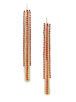 ABS by Allen Schwartz Jewelry - Glass & Chain Linear Drop Earrings