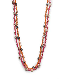 ABS by Allen Schwartz Jewelry - Glass Stone & Cotton Double Strand Necklace