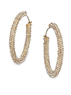 ABS by Allen Schwartz Jewelry - Pav&eacute; Stone Accented Hoop Earrings