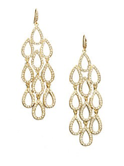 ABS by Allen Schwartz Jewelry - Stone Accented Teardrop Cascade Earrings