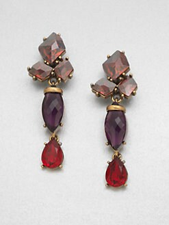 Oscar de la Renta - Swarovski Crystal Cluster Drop Clip-On Earrings