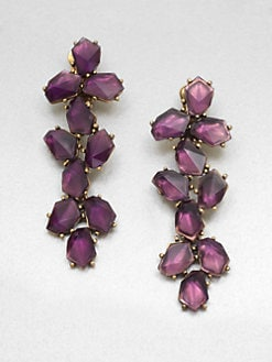 Oscar de la Renta - Stone Embellished Long Drop Clip-On Earrings