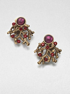 Oscar de la Renta - Stone Embellished Clip-On Earrings