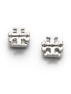 Tory Burch - Silvertone Logo Stud Earrings/0.35