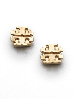 Tory Burch - Goldtone Large Logo Stud Earrings/0.5