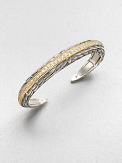 Elizabeth and James - White Sapphire Accented 23K Gold & Sterling Silver Bangle Bracelet