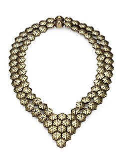 Giles & Brother - Textured Hexagon Bib Necklace