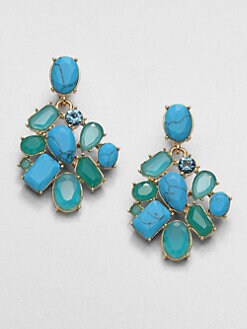 Kate Spade New York - Faceted Cluster Earrings/Blue & Green