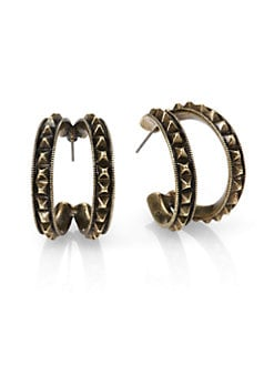 Giles & Brother - Studded Split Hoop Earrings/1