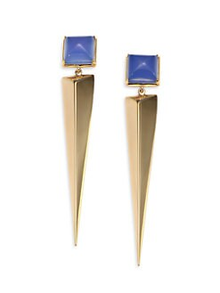 Elizabeth and James - Blue Onyx Pyramid Spike Drop Earrings