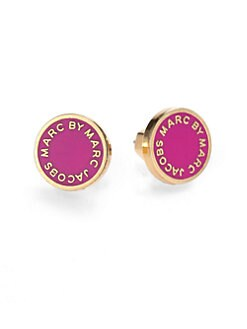 Marc by Marc Jacobs - Enamel Logo Disc Button Earrings
