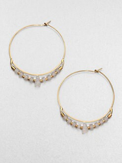 Michael Kors - Clear Quartz Beaded Hoop Earrings
