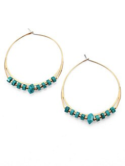 Michael Kors - Turquoise Nugget Hoop Drop Earrings