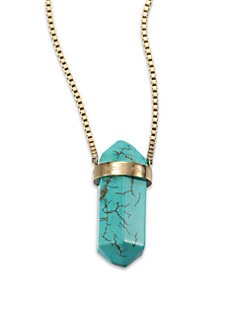 Michael Kors - Semi-Precious Turquoise Long Pendant Necklace