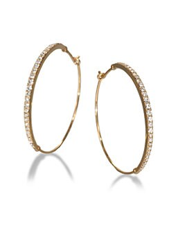 Michael Kors - Pave Hoop Earrings/Goldtone