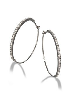 Michael Kors - Pave Hoop Earrings/Silvertone