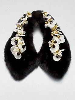 Marni - Embellished Mink Collar