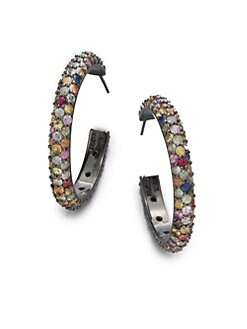M.C.L by Matthew Campbell Laurenza - Multicolored Sapphire & Sterling Silver Hoop Earrings/2.5