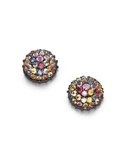 M.C.L by Matthew Campbell Laurenza - Multicolored Sapphire & Sterling Silver Button Earrings