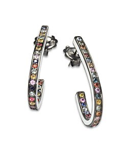 M.C.L by Matthew Campbell Laurenza - Multicolored Sapphire & Sterling Silver J-Hoop Earrings