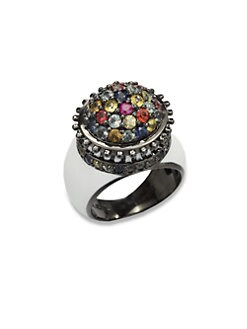 M.C.L by Matthew Campbell Laurenza - Multicolored Sapphire & Sterling Silver Flower Pot Ring