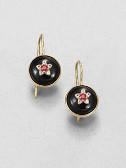 Elizabeth and James - Black Onyz, Ruby and White Topaz Victorian Star Earrings