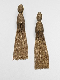Oscar de la Renta - Long Tassel Clip-On Earrings/Goldtone