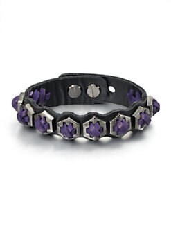Giles & Brother - Armor Leather Cuff Bracelet/Purple