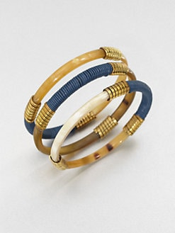 Kora - Leather Wrapped Horn Bangle Set