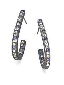 M.C.L by Matthew Campbell Laurenza - Blue Sapphire, White Topaz, Blue Topaz & Sterling Silver J-Hoop Earrings