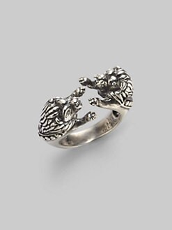 Elizabeth and James - Sterling Silver & Diamond Double Lion Ring