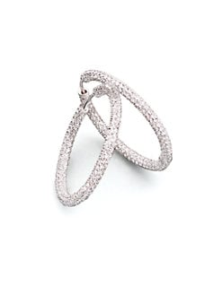 Adriana Orsini - Pave Hoop Earrings/1?