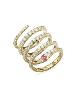 Elizabeth and James - White Sapphire Snake Coil Ring