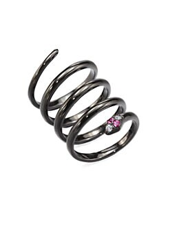 Elizabeth and James - Embellished Snake Coil Ring/Rhodium