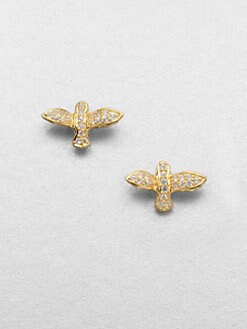 Elizabeth and James - White Sapphire Bird Stud Earrings