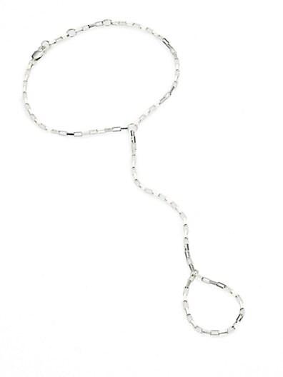 Sterling Silver Box Chain Finger Bracelet