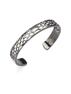 Elizabeth and James - Small Openwork Cuff Bracelet/Rhodium