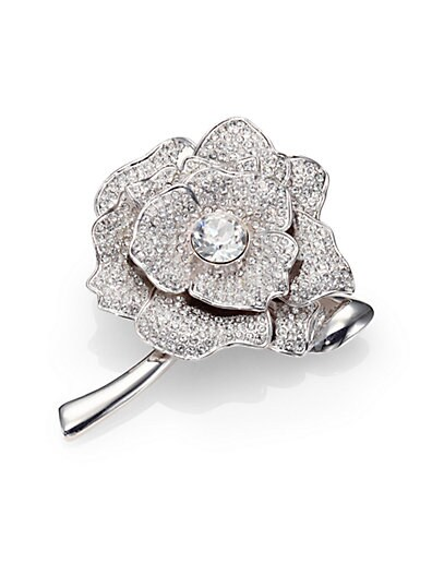 Kate Spade New York Rose Garden Pave Crystal Brooch   Silver