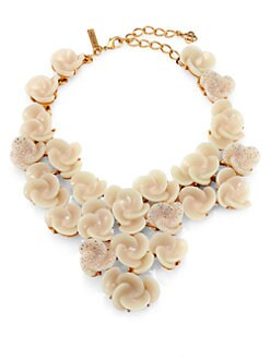 Oscar de la Renta - Crystal Swirl Flower Bib Necklace