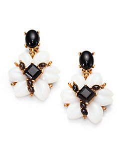 Oscar de la Renta - Jewel & Cabochon Floral Drop Earrings