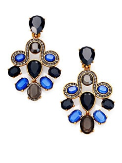 Oscar de la Renta - Jeweled Scroll Chandelier Earrings