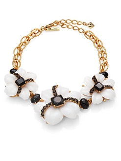 Oscar de la Renta - Jewel & Cabochon Flower Necklace