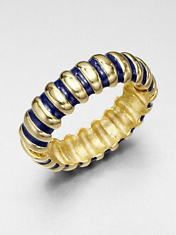 Kenneth Jay Lane - Ribbed Bangle Bracelet/Lapis
