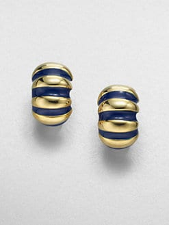Kenneth Jay Lane - Ribbed Shrimp Clip-On Earrings/Lapis