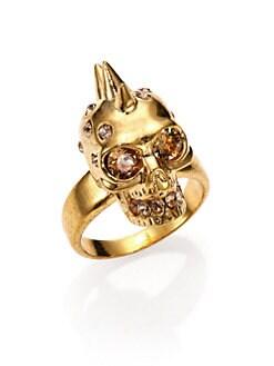 Alexander McQueen - Crystal Spiked Skull Ring