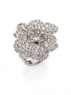 Alexander McQueen - Pave Crystal Flower Ring/Silvertone