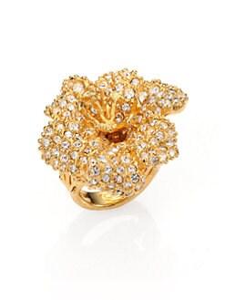 Alexander McQueen - Pave Crystal Flower Ring/Goldtone