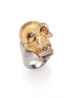 Alexander McQueen - Crystal Skull Leaf Ring