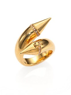Alexander McQueen - Crystal Double Stud Bypass Ring