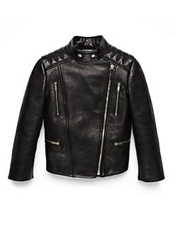 Gucci - Girl's Mixed-Media Leather Biker Jacket